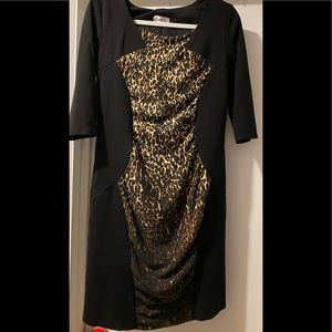 Color Block Animal Print ThreeQuarter Sleeve Dress
